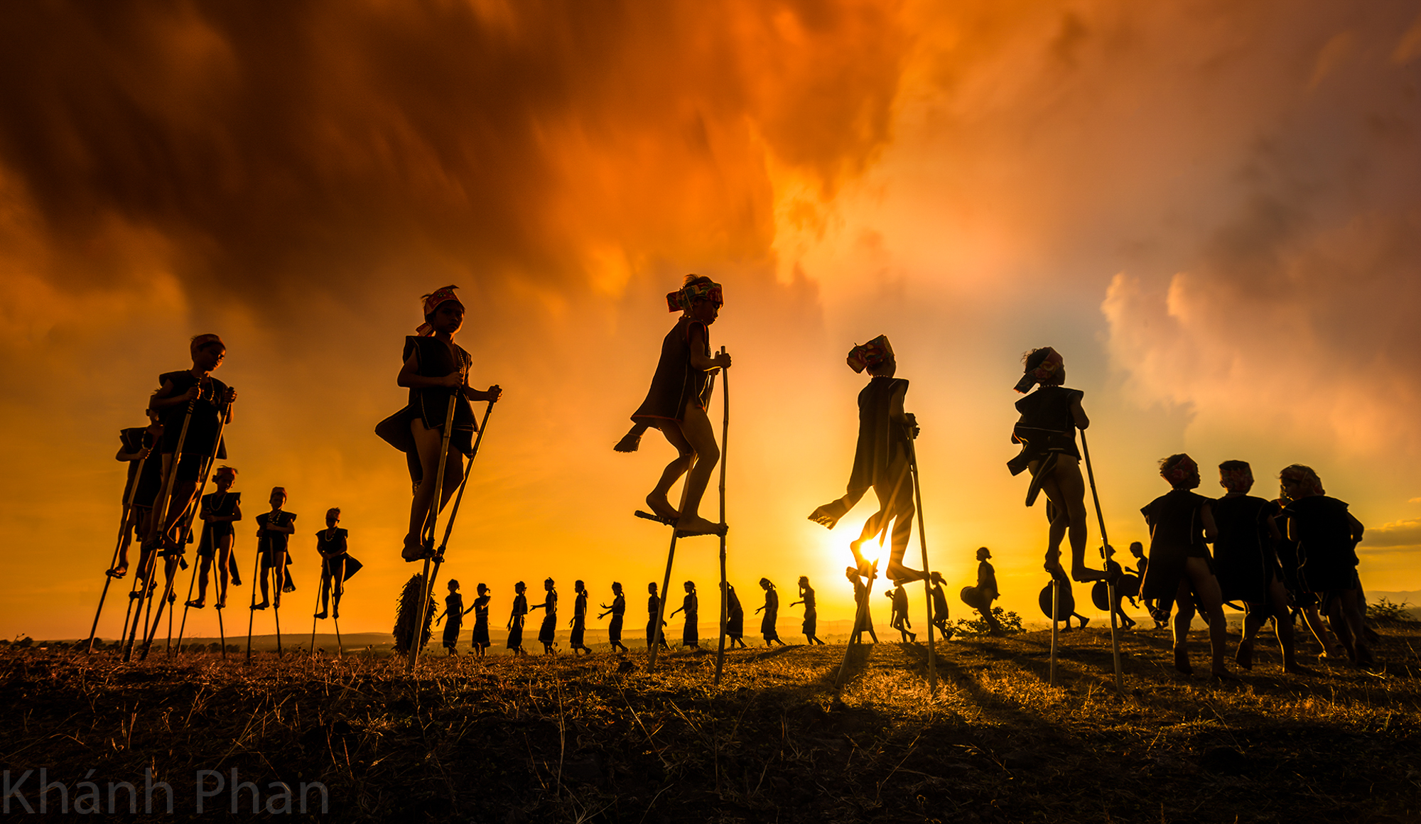 'Children dancing with gongs,' a photo capturing children dancing with gongs at a festival in Gia Lai, which was listed among the 2020 world's best photos of golden hour by Agora. Photo: Khanh Phan