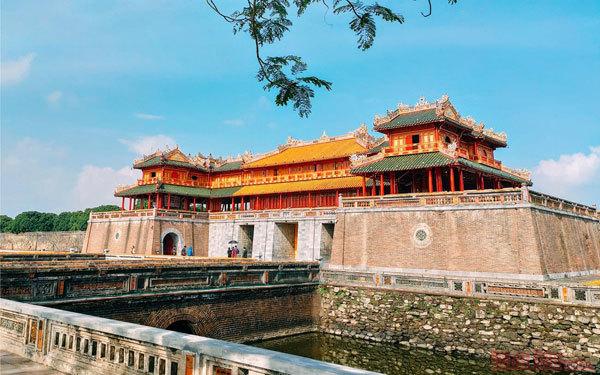 Admiring slice of time on vestige in Hue Imperial Citadel
